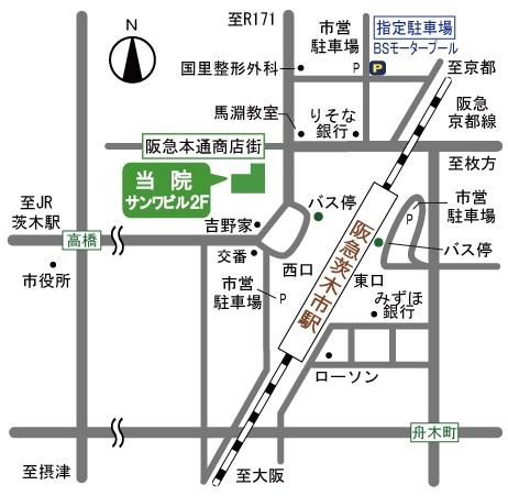 阪急茨木市駅前 口腔外科総合研究所周辺地図